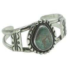 Vintage Native American Sterling Silver Turquoise Cuff