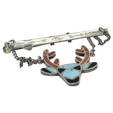 Native American Sterling Silver, Turquoise, Coral & Onyx  Tie Clip