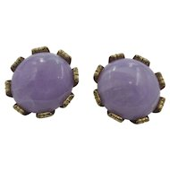 Vintage Lavender Bead Clip - On Earrings 1950's