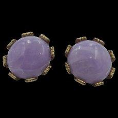 Vintage Lavender Bead Clip - On Earrings 1950's