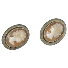 Vintage Sterling Silver Cameo Earrings screw backs