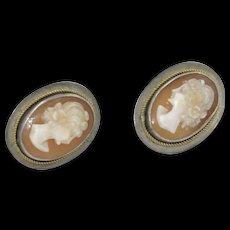 Vintage Sterling Silver Cameo Earrings screw backs