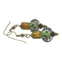 Vintage Art Glass Dangle Earrings
