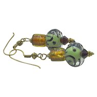 Vintage Art Glass Dangle Earrings