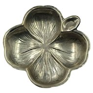 Vintage signed Sterling Silver Four Leaf Clover Ashtray or Ring Holder marked
