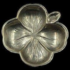 Vintage signed Sterling Silver Four Leaf Clover Ashtray or Ring Holder marked