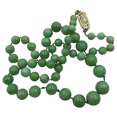 Vintage Natural  Jade Pearl Bead Necklace with 14K gold clasp