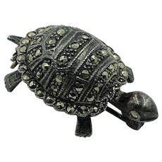 Sterling Silver & Marcasite Turtle brooch