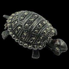 Sterling Silver & Marcasite Turtle brooch