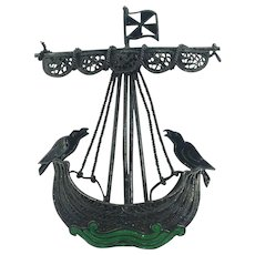Filagree  Silver Pirate Ship Brooch