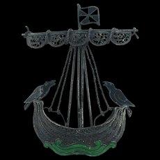 Filagree  Silver Pirate Ship Brooch