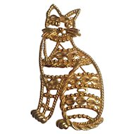 Vintage Cat Brooch signed 'AJC'