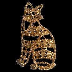 Vintage Cat Brooch signed 'AJC'