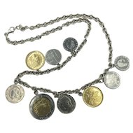 Sterling Silver Italian Coin Necklace