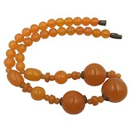 Vintage Orange Swirl Glass  Necklace 1940's-50's