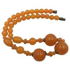 Vintage Orange Swirl Glass  Necklace 1940's-50's