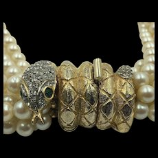 Vintage Kenneth Jay Lane Faux Pearl Necklace with Rhinestone Studded Snake Clasp