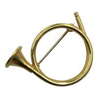 Vintage French Horn Brooch Signed Napier