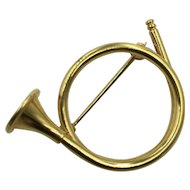 Vintage French Horn Brooch Signed Napier