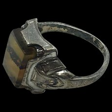 Vintage Sterling Banded Agate Square Stone Ring size  5.5-6 hallmarked 'OSUEE'