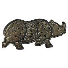 Mexican Sterling Silver Rhino Brooch hallmarked 'efs'