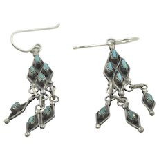 Vintage Native American Zuni Tribe Sterling and Turquoise Dangle Earrings