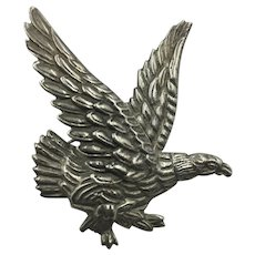 Early Mexican Hand Wrought Silver American Eagle Brooch hallmarked