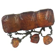 Vintage Russian Baltic Amber Brooch