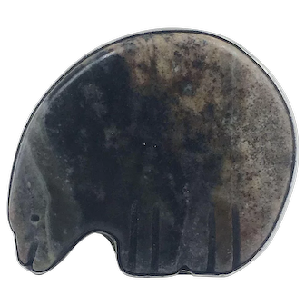 Fabulous Sterling Silver Southwestern Fetish Bear Ring size 7.5