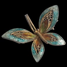 vintage Chinese Filagree Enameled Butterfly Silver