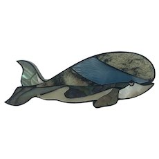 Adorable Mother of Pearl Whale Brooch