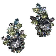Vintage Austrian Crystal Clip On Earrings hallmarked