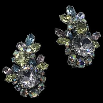 Vintage Austrian Crystal Clip On Earrings hallmarked
