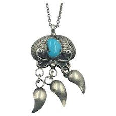 Native American Sterling & Turquoise Pendant Necklace