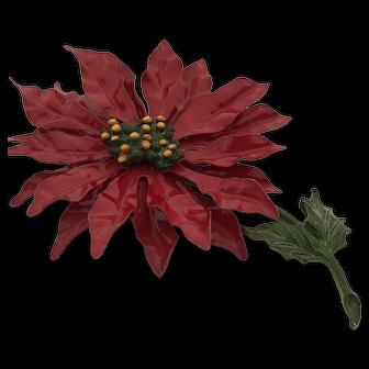 Vintage Poinsettia Christmas Brooch