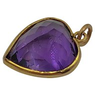 Beautiful Amethyst 14K Gold Heart Shaped Pendant  or Charm