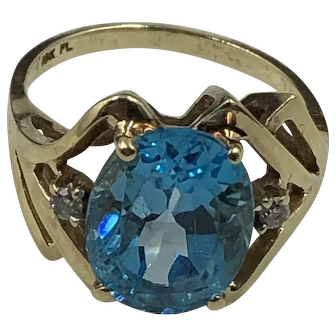 London Blue Topaz  & Diamond Gold Ring Hallmarked size 7.5