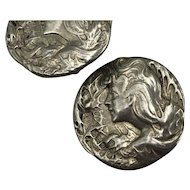 Antique Sterling Silver  Hallmarked Clip On Earrings