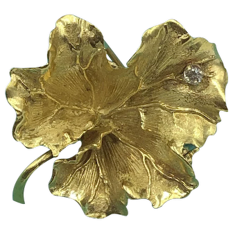 Tiffany & Co. 18 K Gold and Diamond Lilly Pad Brooch signed
