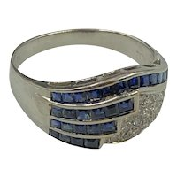 18K White Gold Diamond and Sapphire Statement Ring size 9