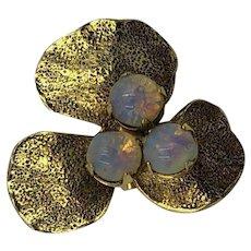 Vintage Opal & Gold Three-Leaf Clover Brooch