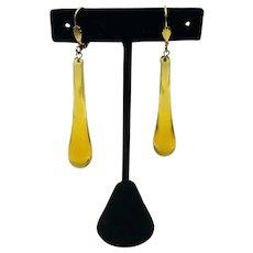 Vintage Amber Glass Drop Dangle Earrings