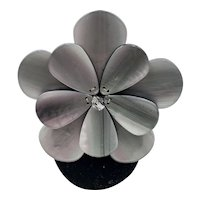 Signed 'PONO'  Mother of Pearl Resin Flower Brooch