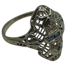 Deco Era White Gold Diamond & Sapphire Ring size 5