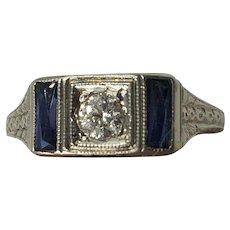 Art Deco 14K White Gold Diamond & Sapphire Ring size 5