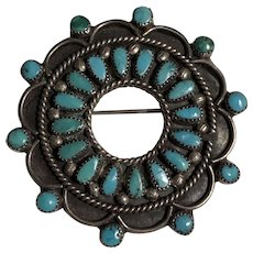 Native American Signed Turquoise &  Sterling Silver Brooch