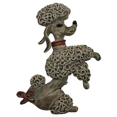Vintage Poodle Brooch hallmarked 'Gerrys'