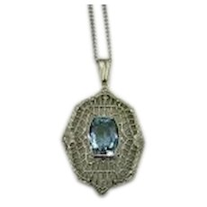 Antique 14K White Gold and Blue Tanzanite Filagree Pendant