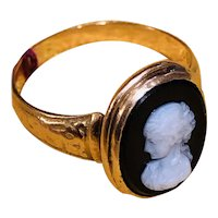 Antique Estate 14K Gold Hard Stone Cameo Ring Size 7