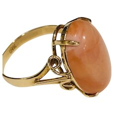 Coral & 18K Gold Ring